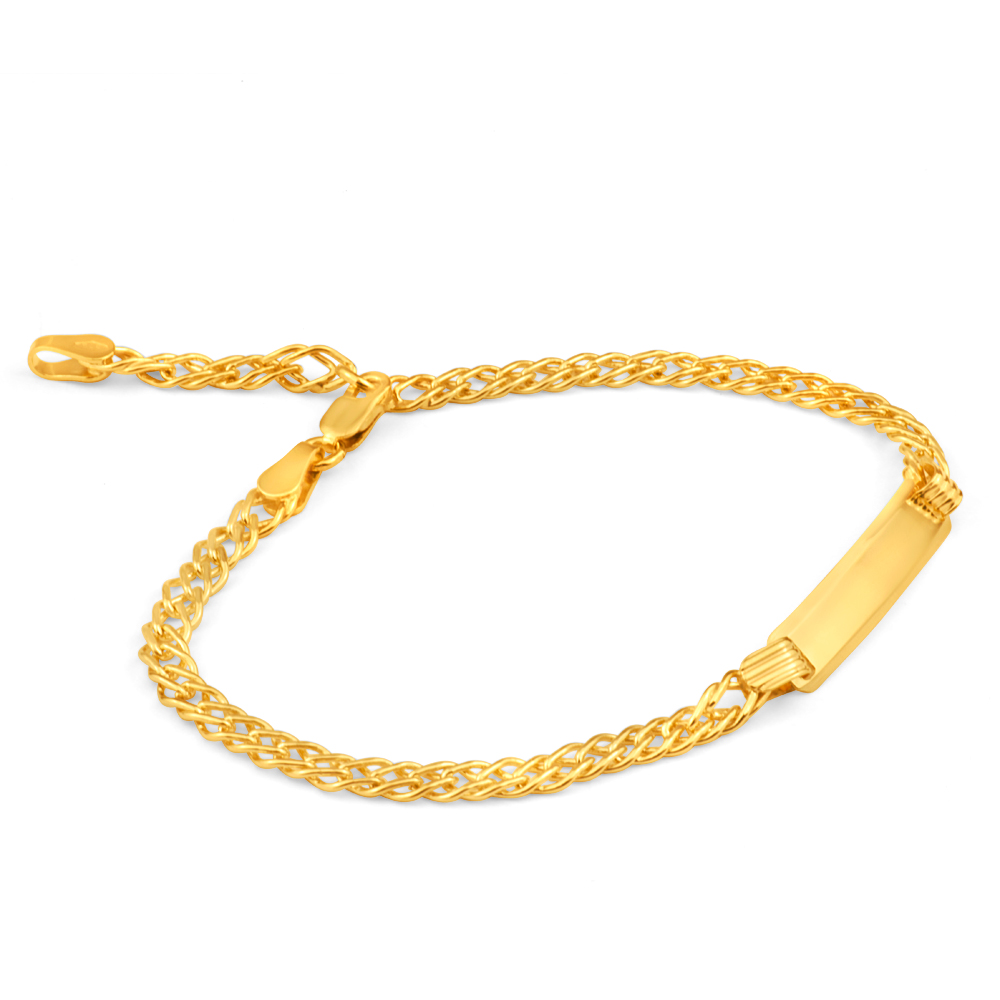 9ct Yellow Gold Silver Filled ID Extender 19cm Curb Bracelet