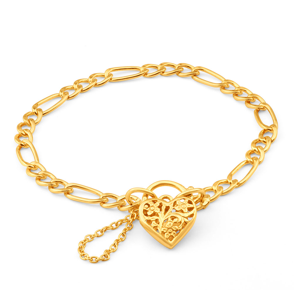 9ct Yellow Gold Silver Filled 19cm Fll Heart Figaro Bracelet