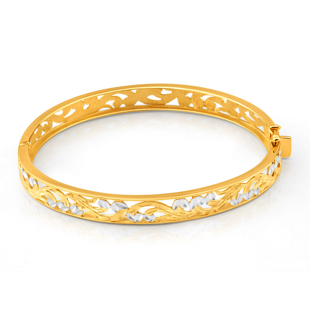 9ct Yellow Gold & White Gold Fancy Oval Bangle