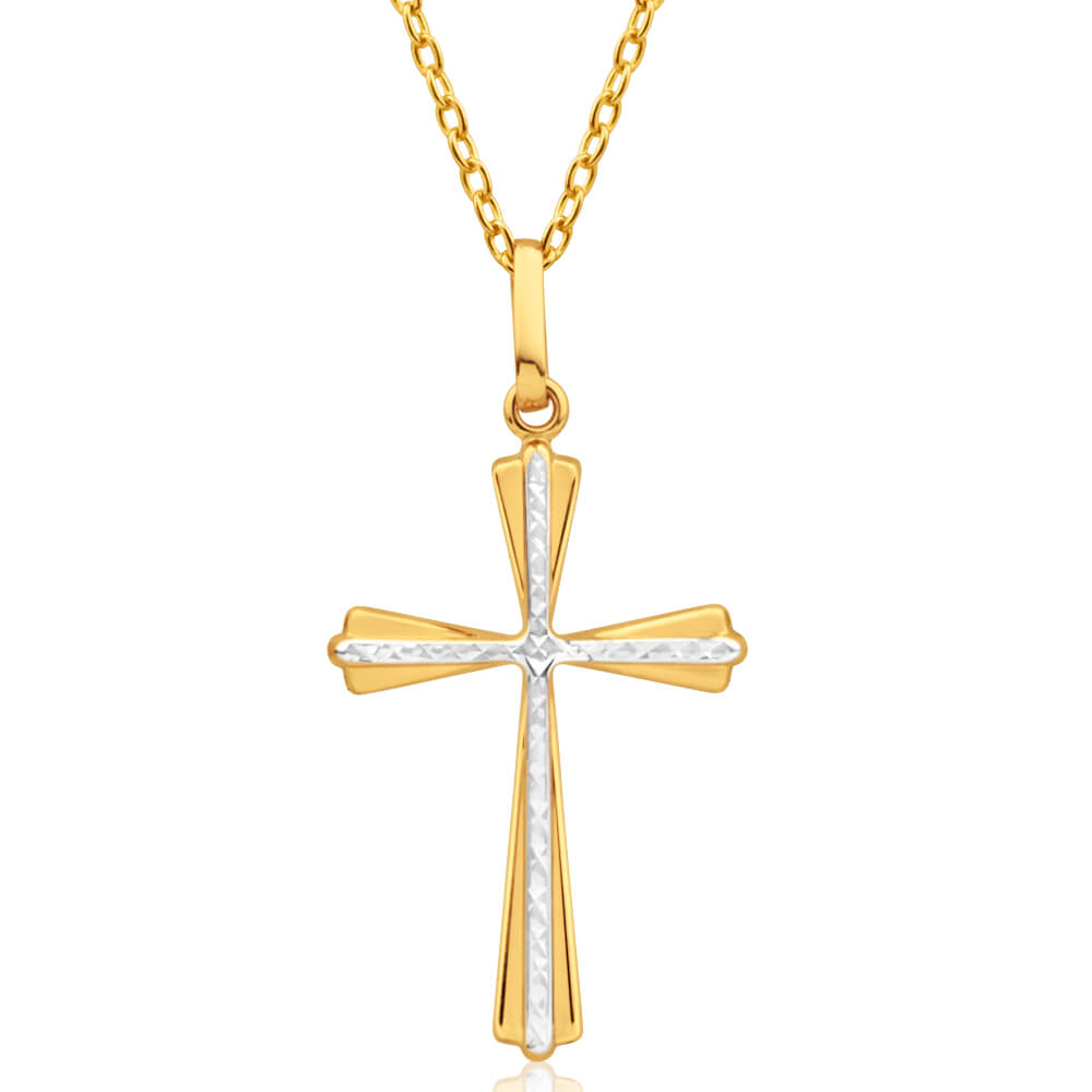9ct Yellow Gold Cross Pendant with two tone white accent