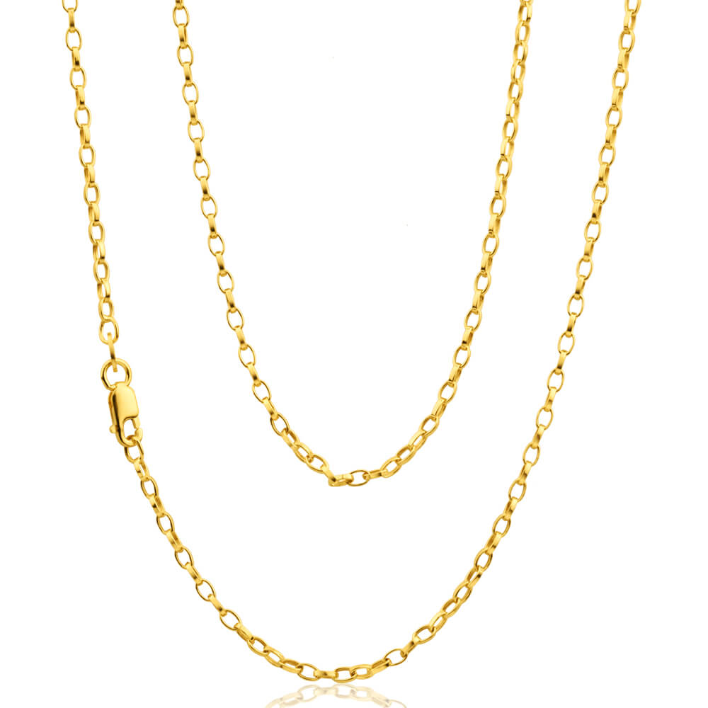 9ct Yellow Gold Silver Filled Oval Link Belcher 50 gauge Chain in 45cm