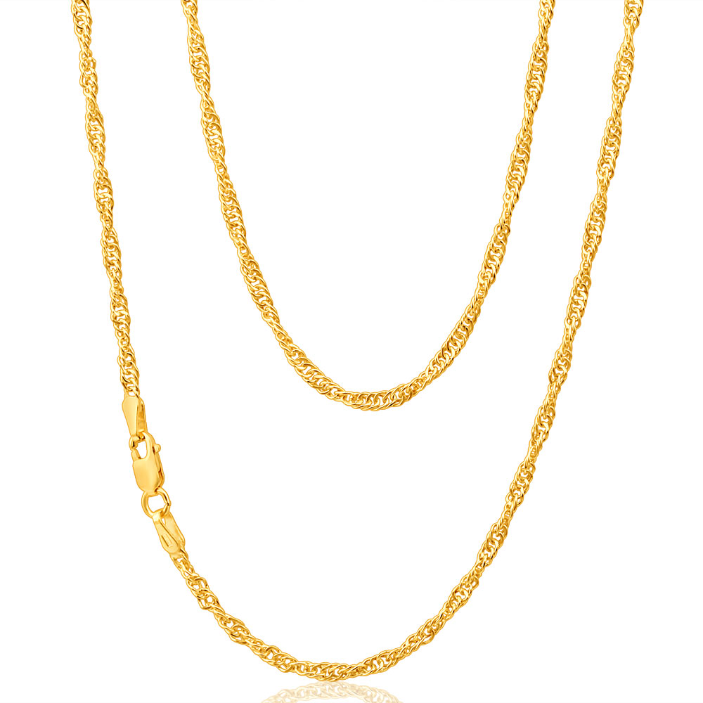 9ct Yellow Gold Silver Filled Singapore 50cm Chain 40 Gauge