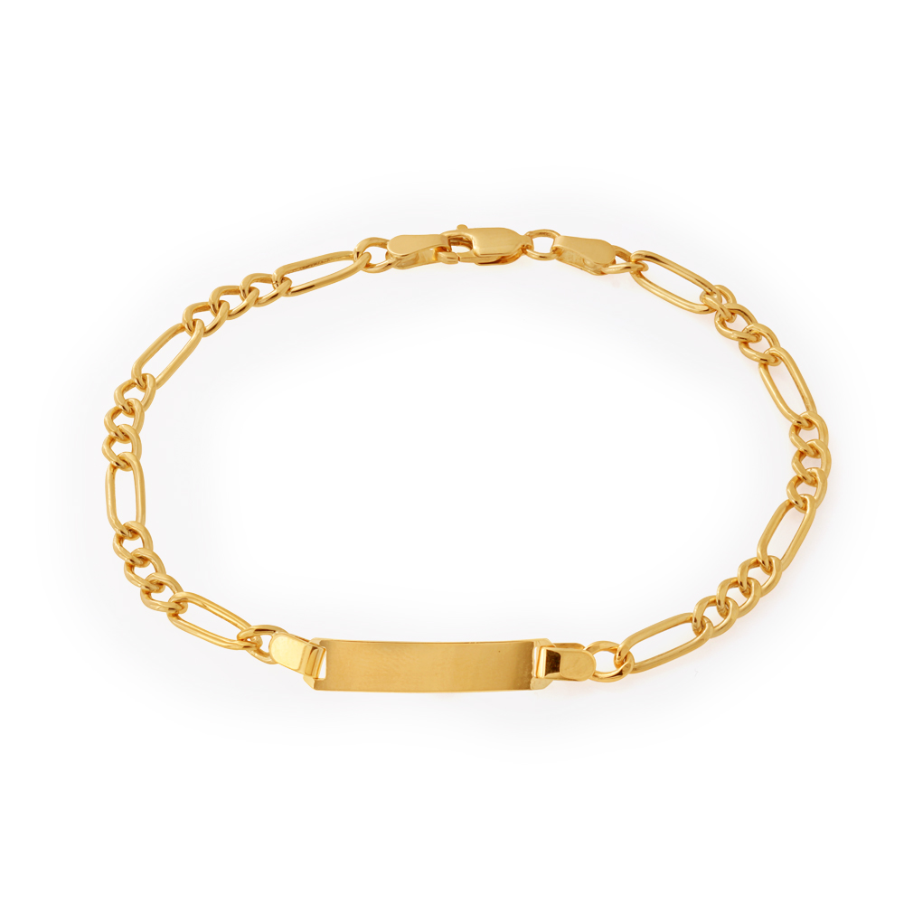 9ct Yellow Gold Silver Filled 19cm Figaro Bracelet
