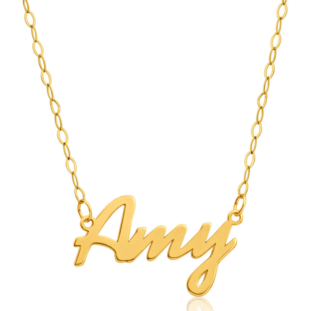Signature 9ct Yellow Gold Pendant Amy on 40cm Trace Chain