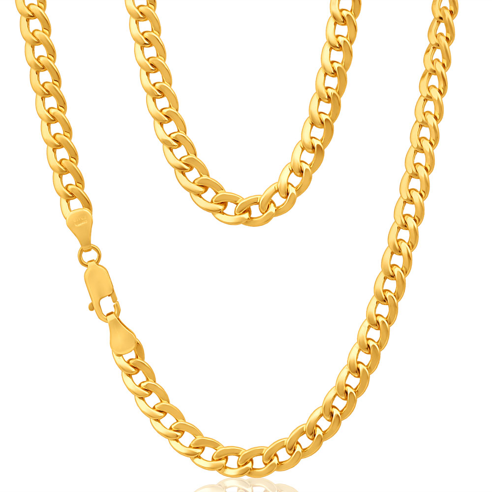 9ct Superb Yellow Gold Copper Filled Curb Chain