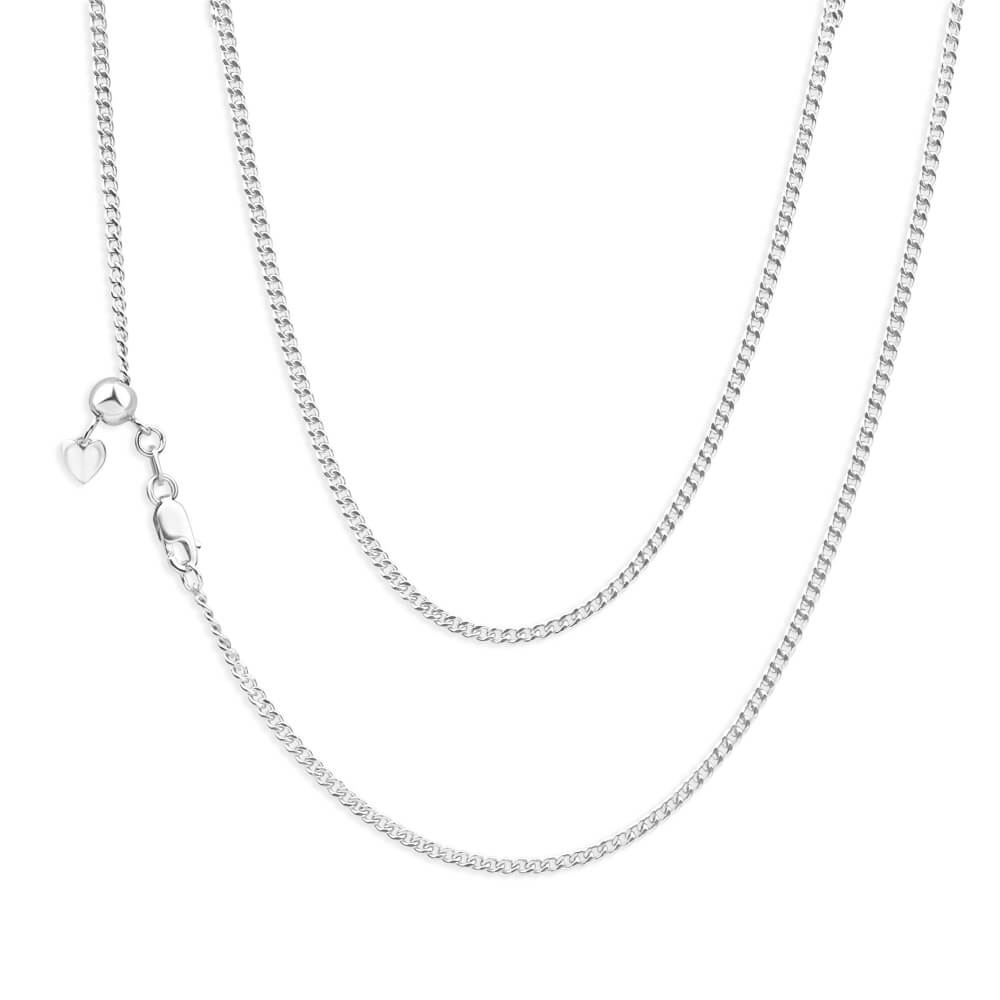 9ct White Gold Silver Filled 45cm Curb Chain
