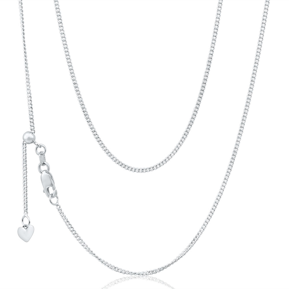 9ct White Gold Silver Filled Extend 45cm Curb Chain 40 Gauge