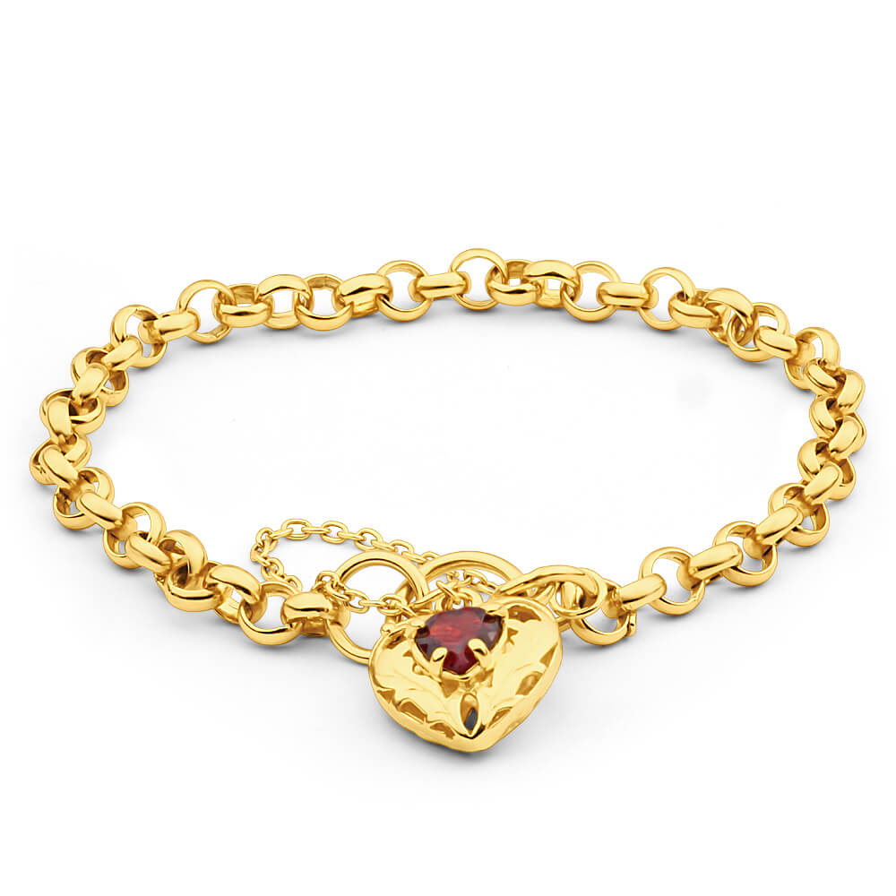 9ct Yellow Gold Silver Filled Garnet Belcher Bracelet
