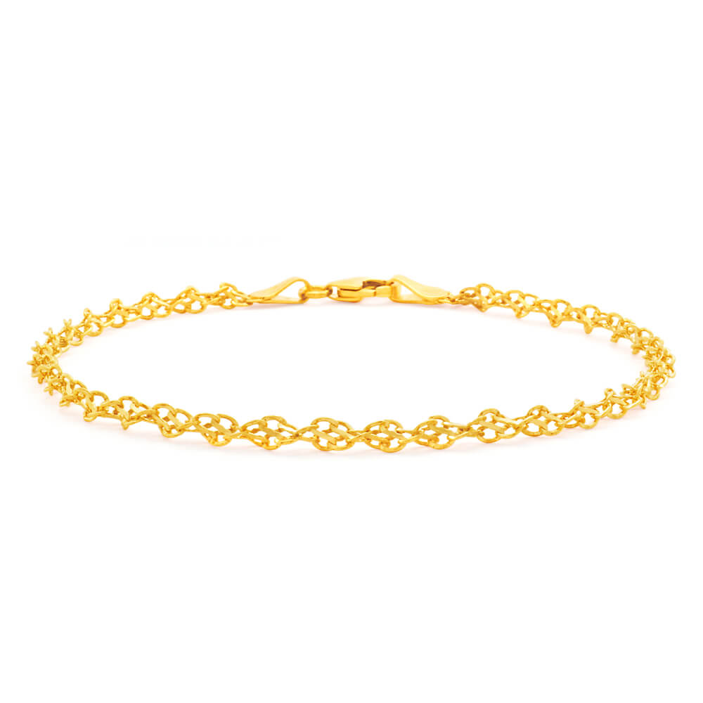9ct Yellow Gold Silver Filled Singapore Link 19cm Bracelet