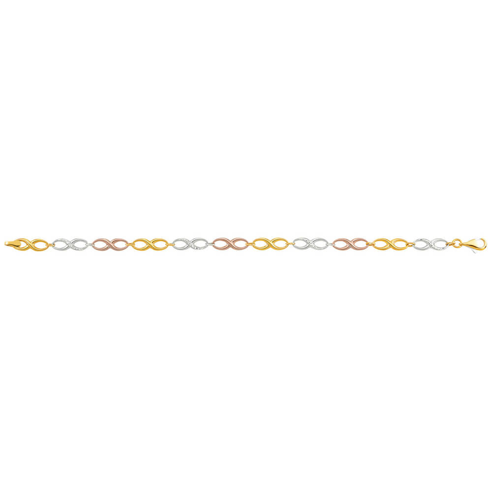 9ct Yellow Gold Silver Filled Infinifty Three Tone Fancy Bracelet