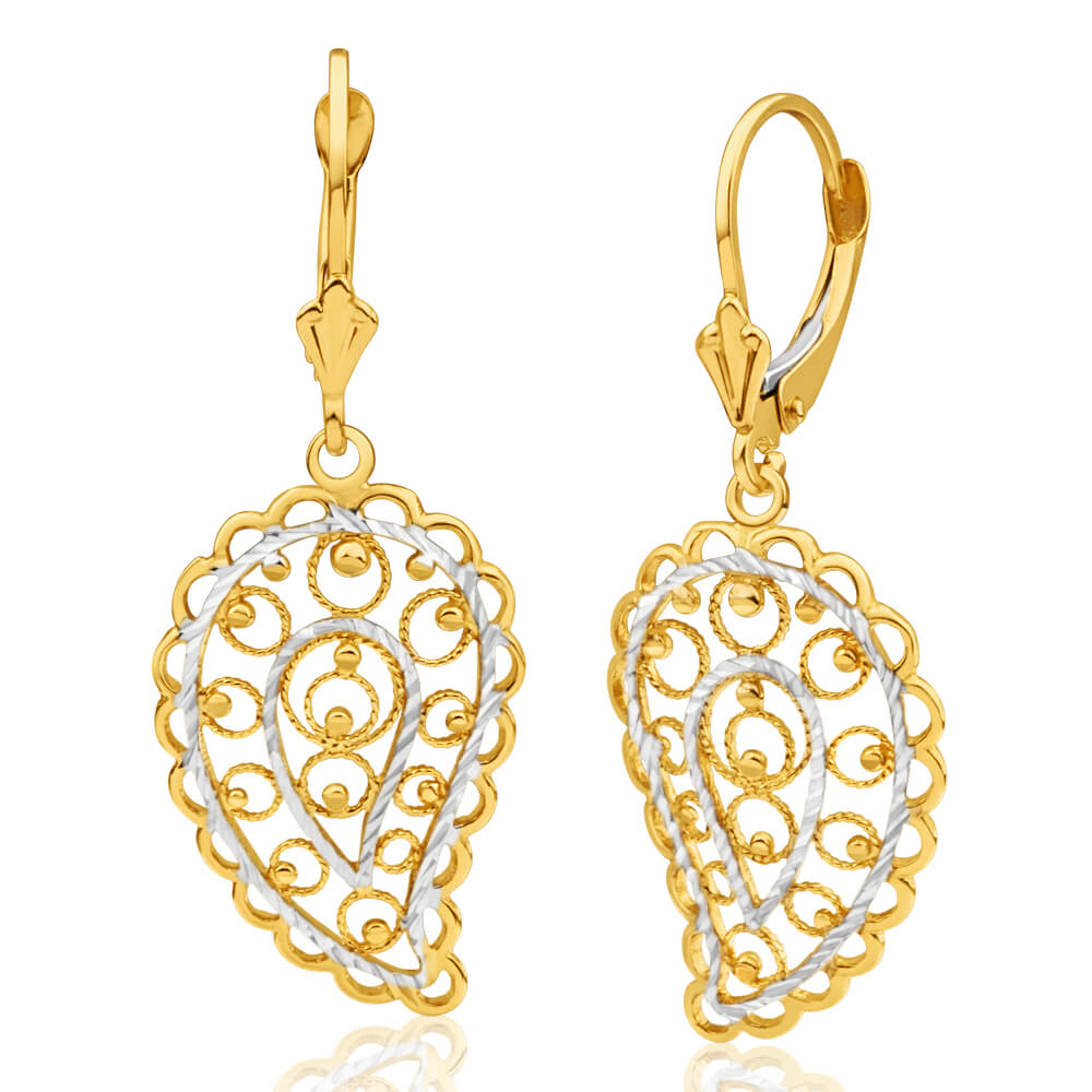 9ct Yellow Gold & White Gold Drop Earrings Filigree Leaf Design