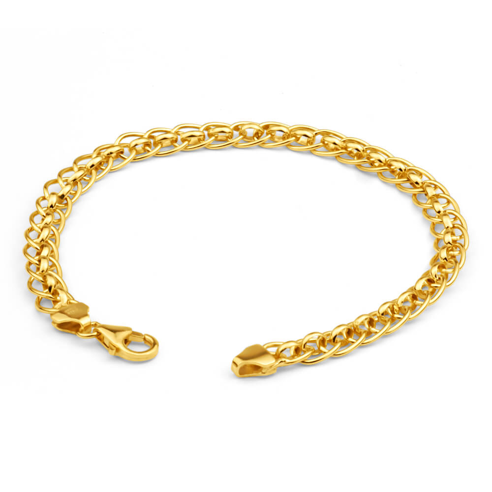 9ct Yellow Gold Silver Filled Roller Bracelet