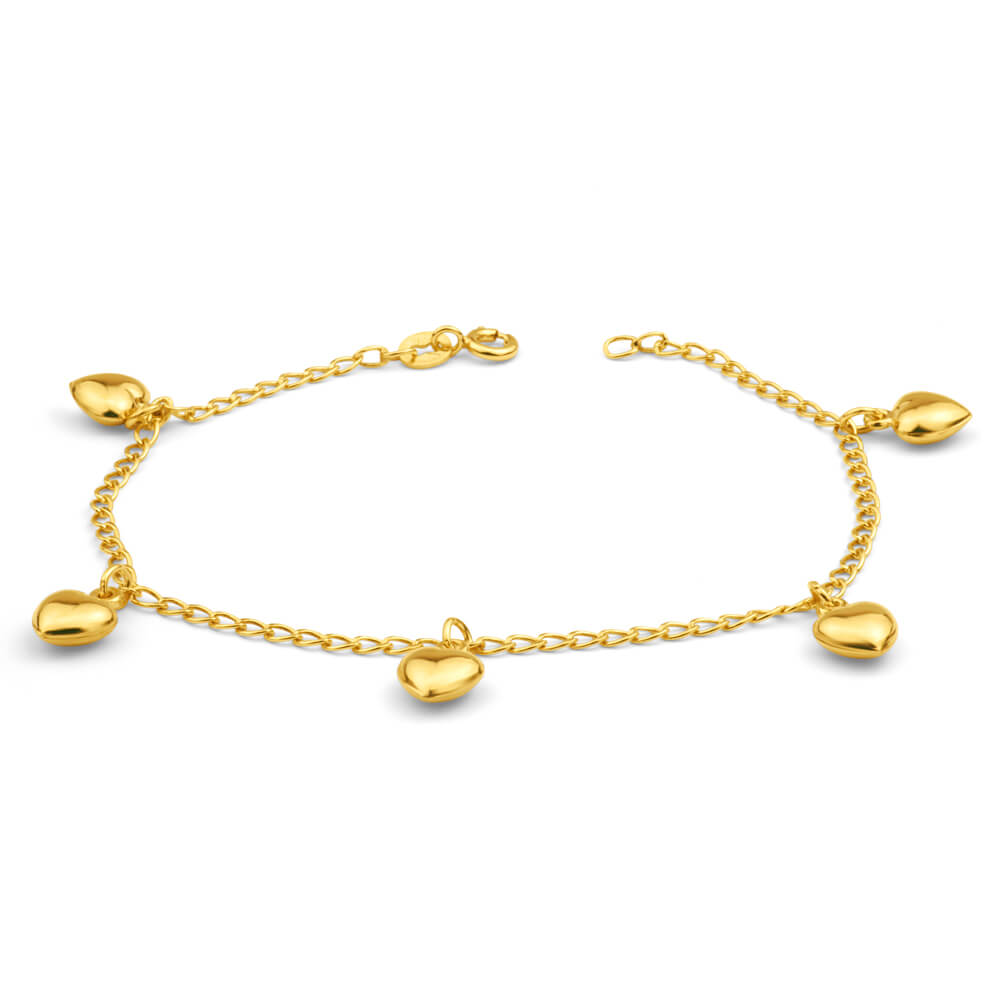 9ct Yellow Gold Silver Filled Heart Drop 19cm Curb Bracelet