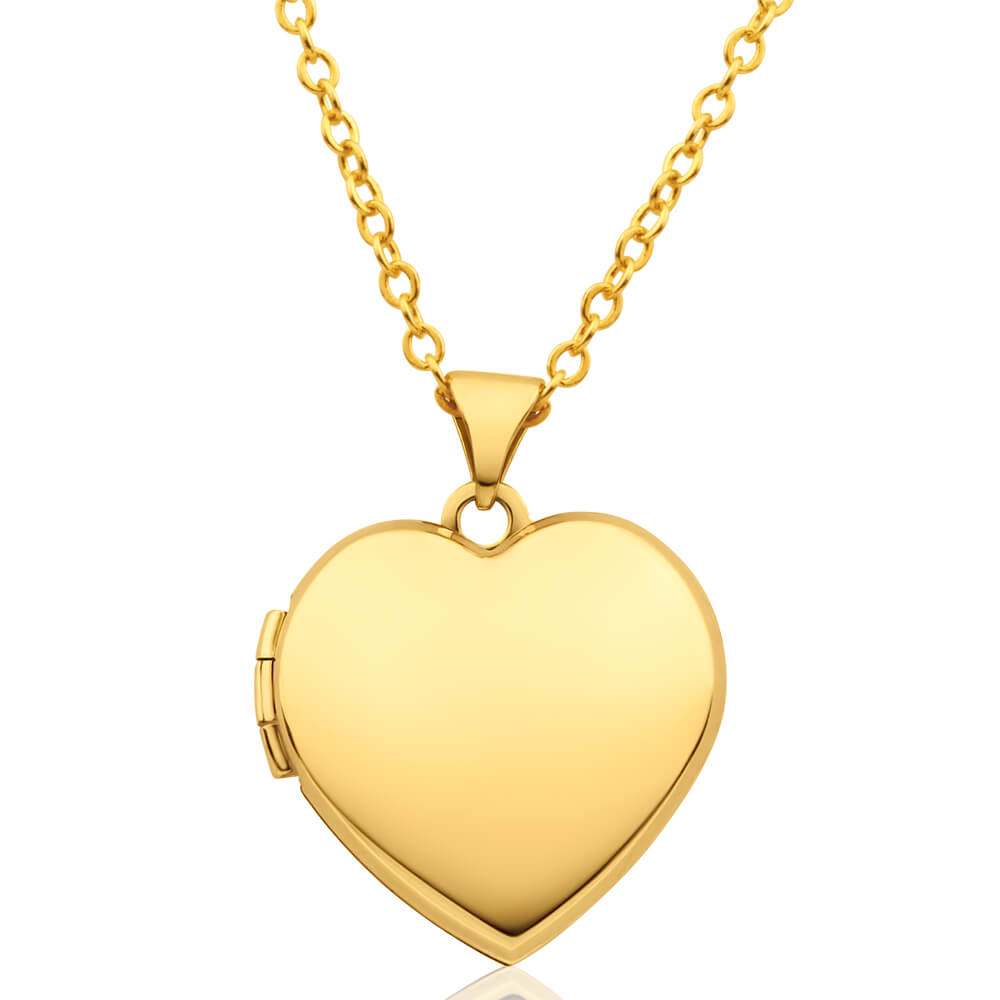 9ct Yellow Gold Heart Shape Plain Locket