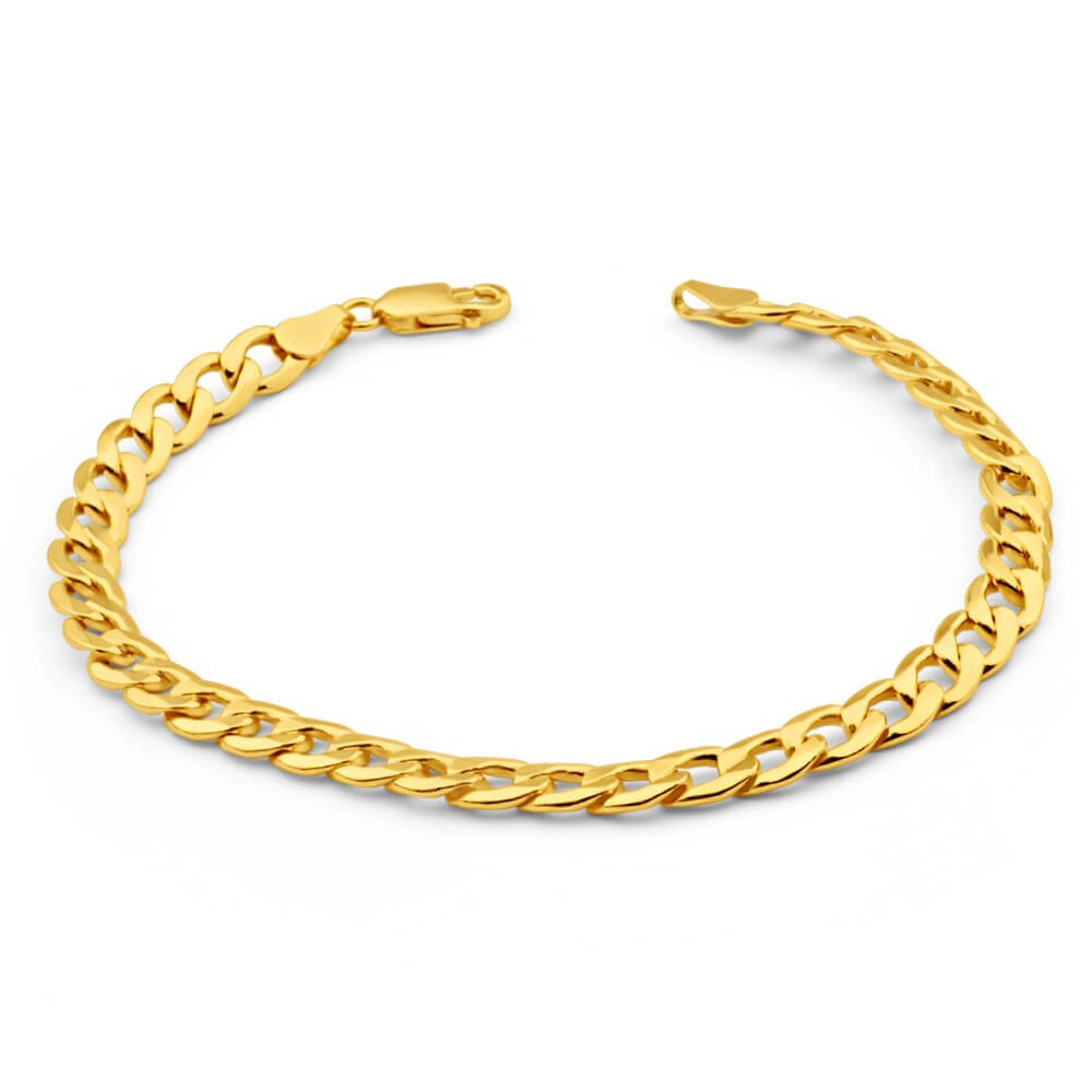 9ct Yellow Gold Copperfilled 21cm Curb Bracelet 150 Gauge
