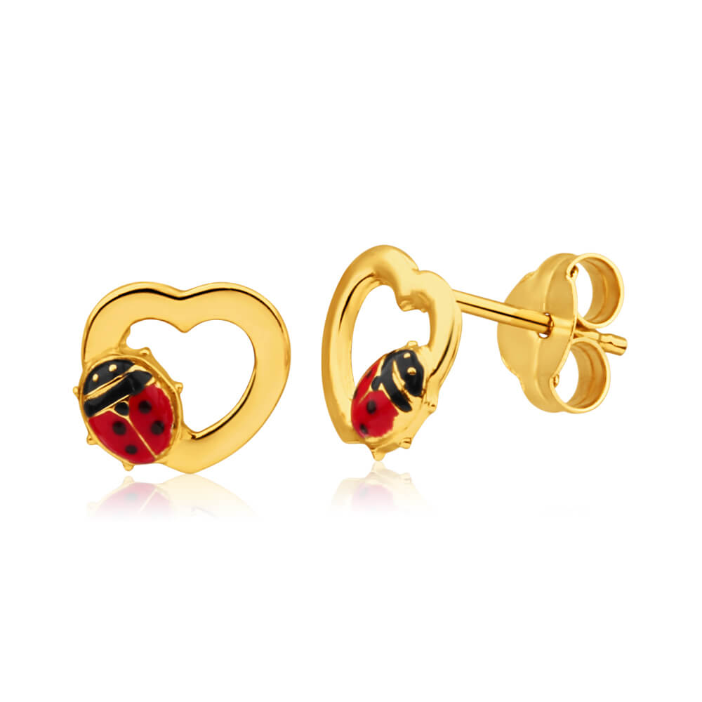 9ct Yellow Gold Ladybird Heart Stud Earrings