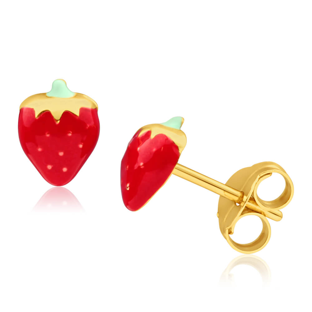 9ct Yellow Gold Strawberry Enamel Stud Earrings