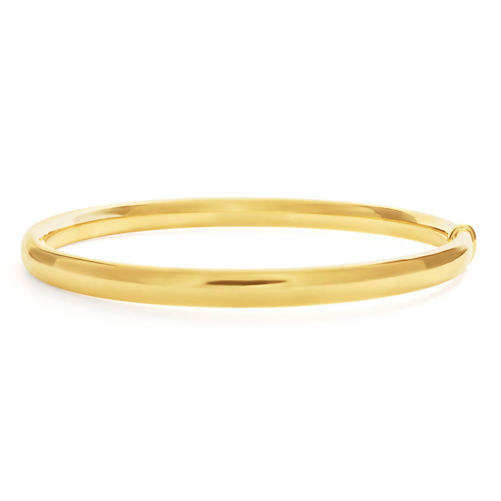 9ct Yellow Gold Silver Filled 6mm x 70mm Bangle