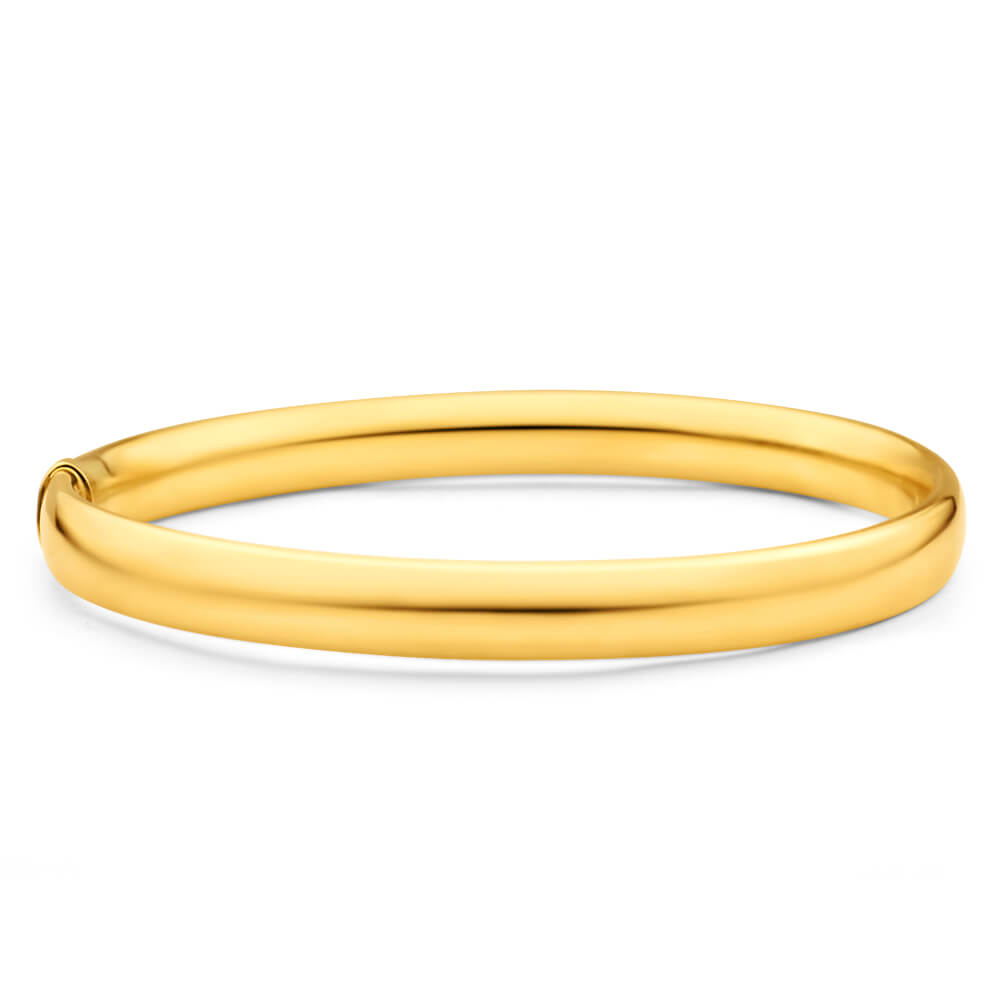 9ct Yellow Gold Silver Filled 8mm x 70mm Bangle