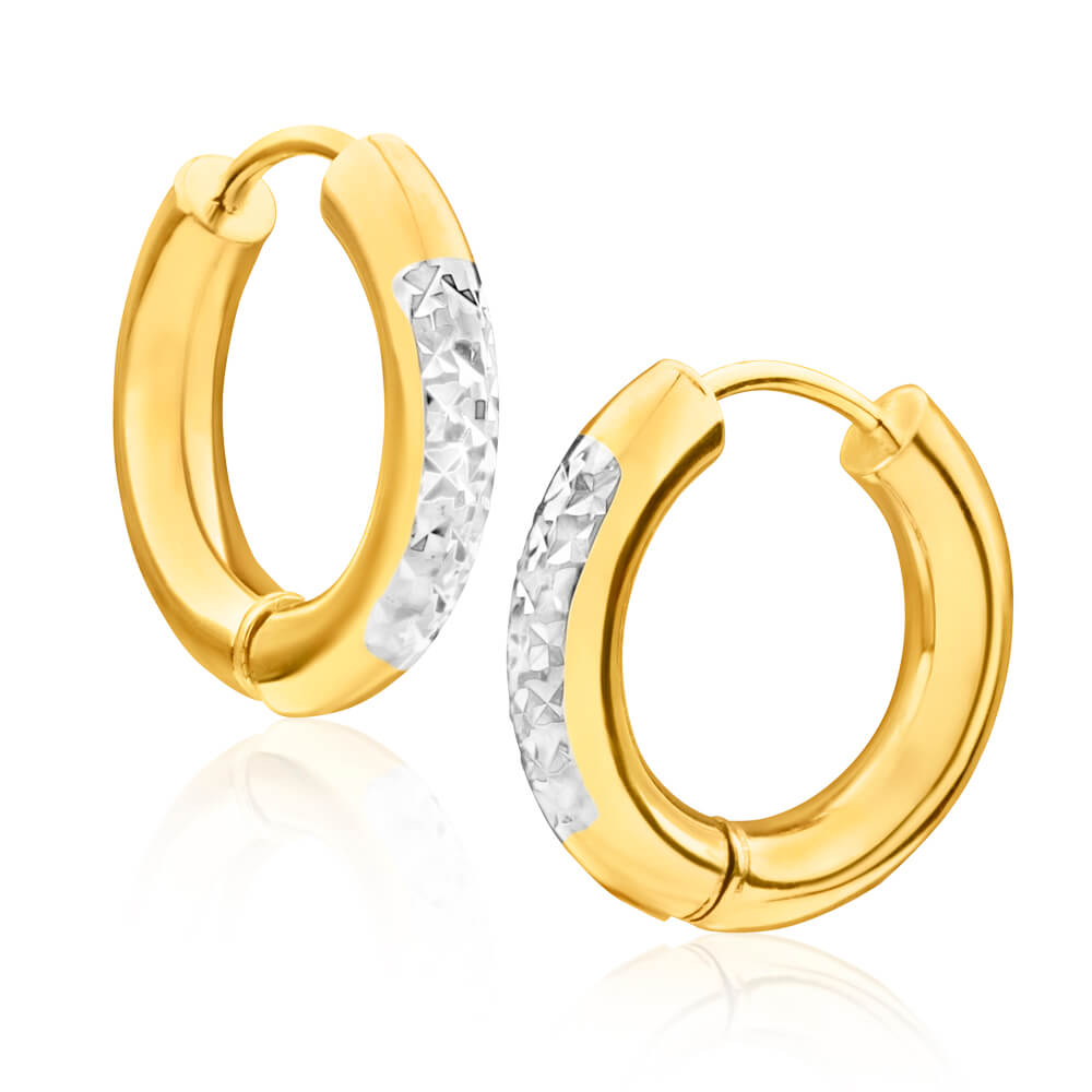 9ct Yellow Gold Silver Filled Two Tone Diamond Cut Hoop Earrings