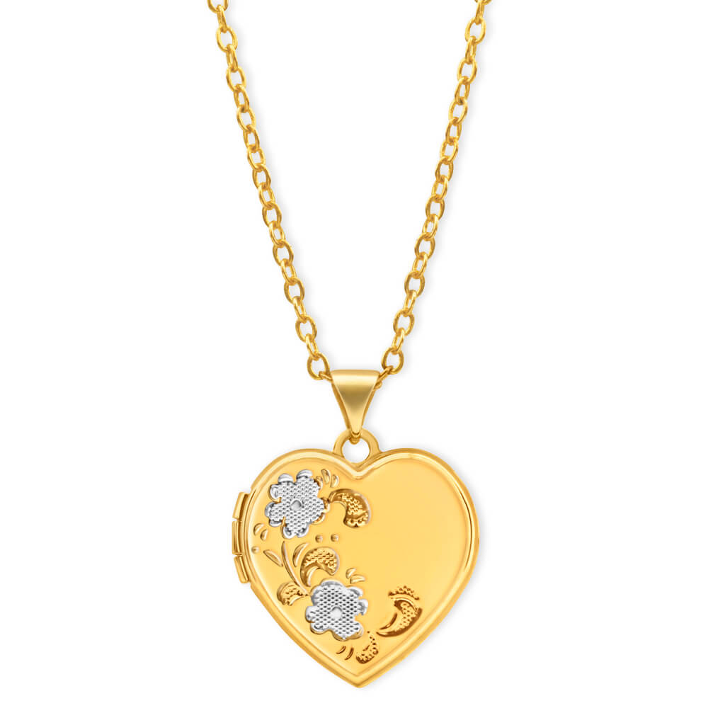 9ct Yellow Gold Heart Shaped Locket with Flower Pattern