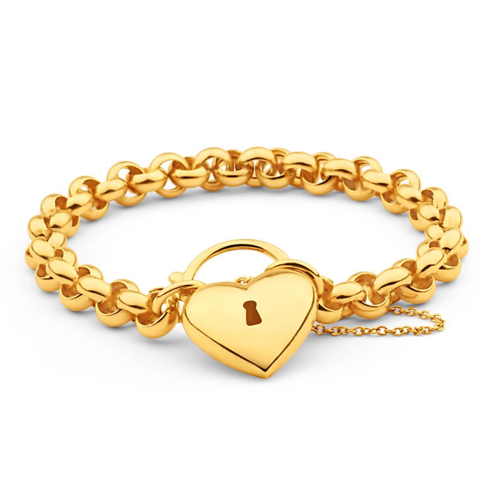 9ct Delightful Yellow Gold Silver Filled Belcher Bracelet