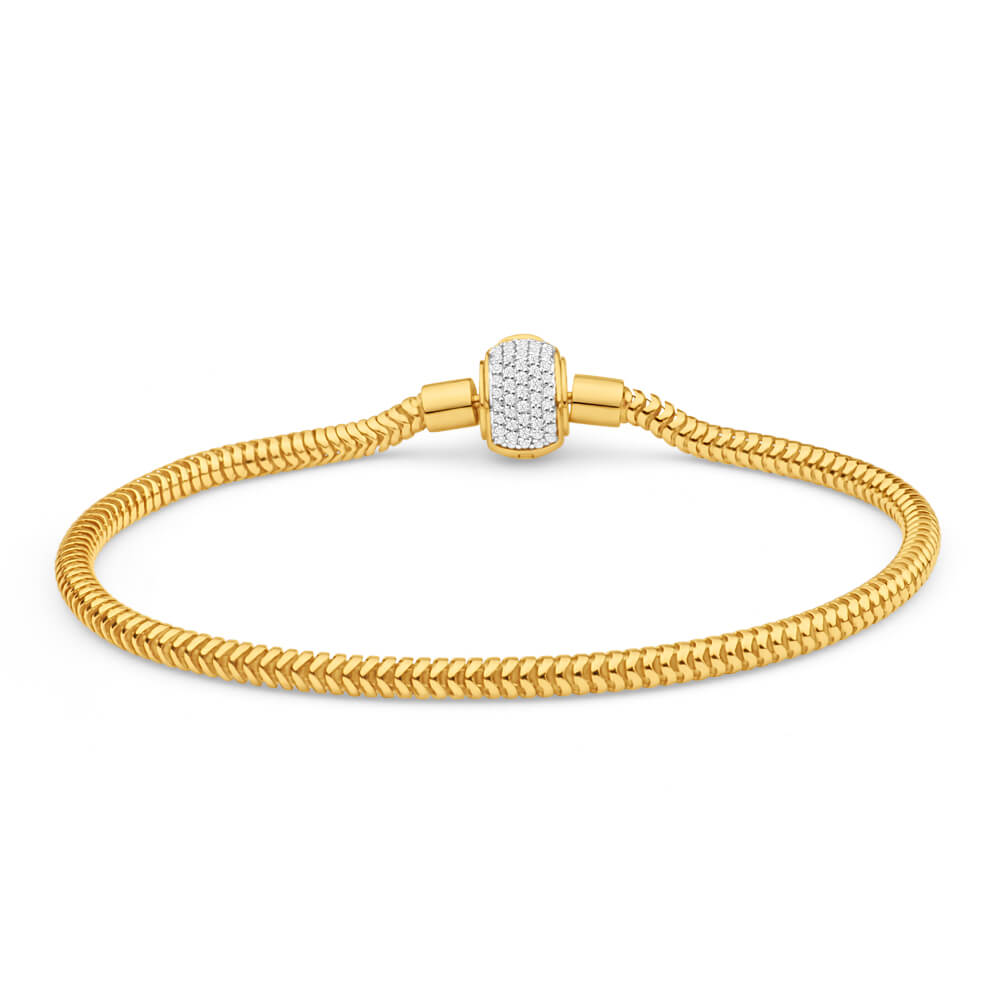 9ct Yellow Gold Bellagio Diamond Clasp 19cm Bracelet