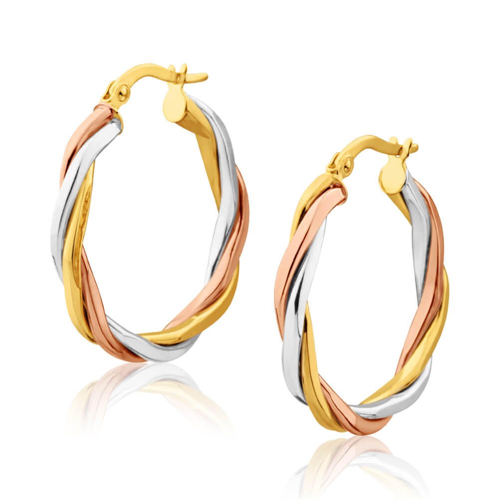 9ct Yellow Gold, White Gold & Rose Gold Twist 20mm Hoop Earrings
