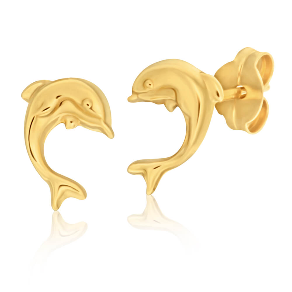 9ct Yellow Gold Plain Dolphin Stud Earrings