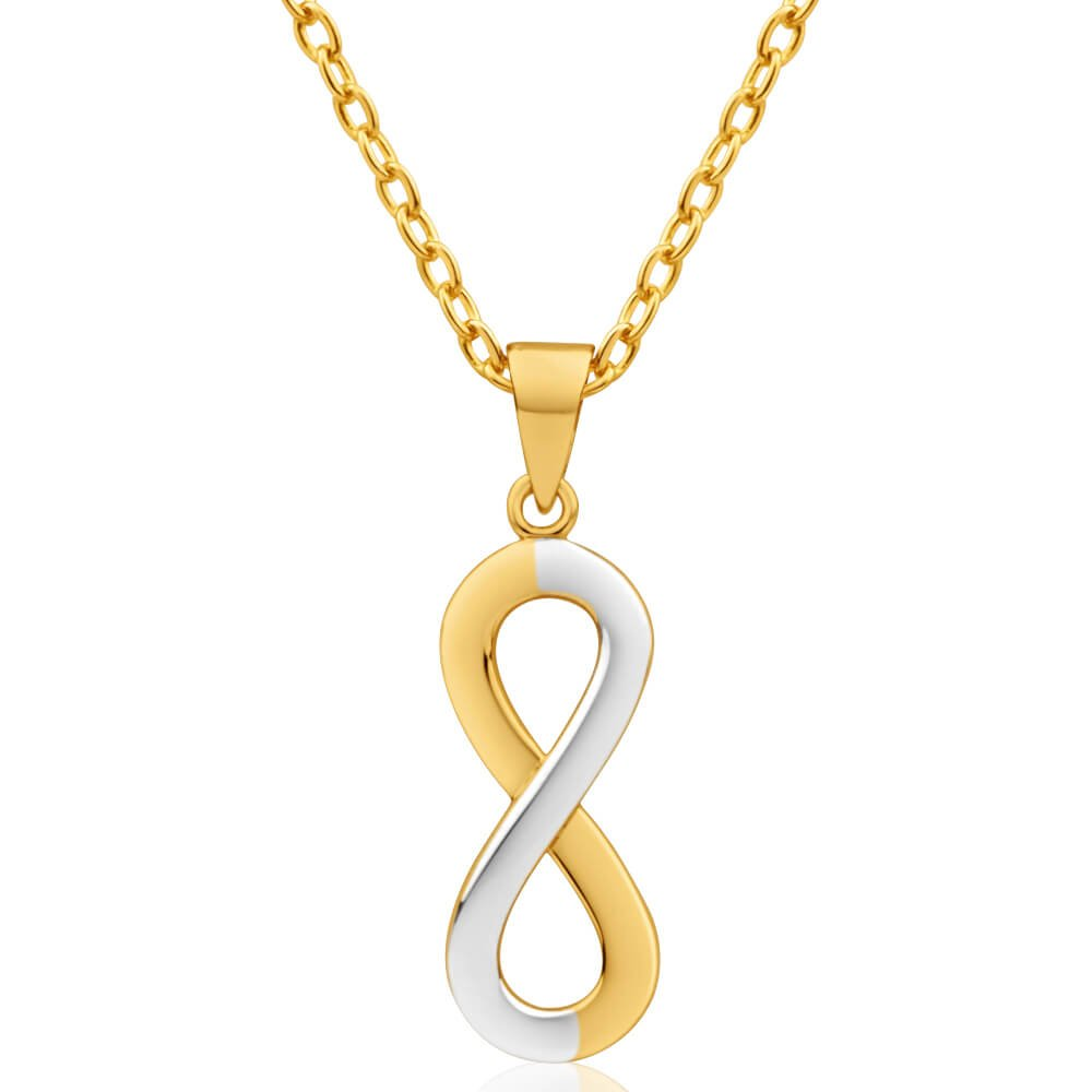 9ct Yellow Gold & White Gold 18mm Infinity Pendant