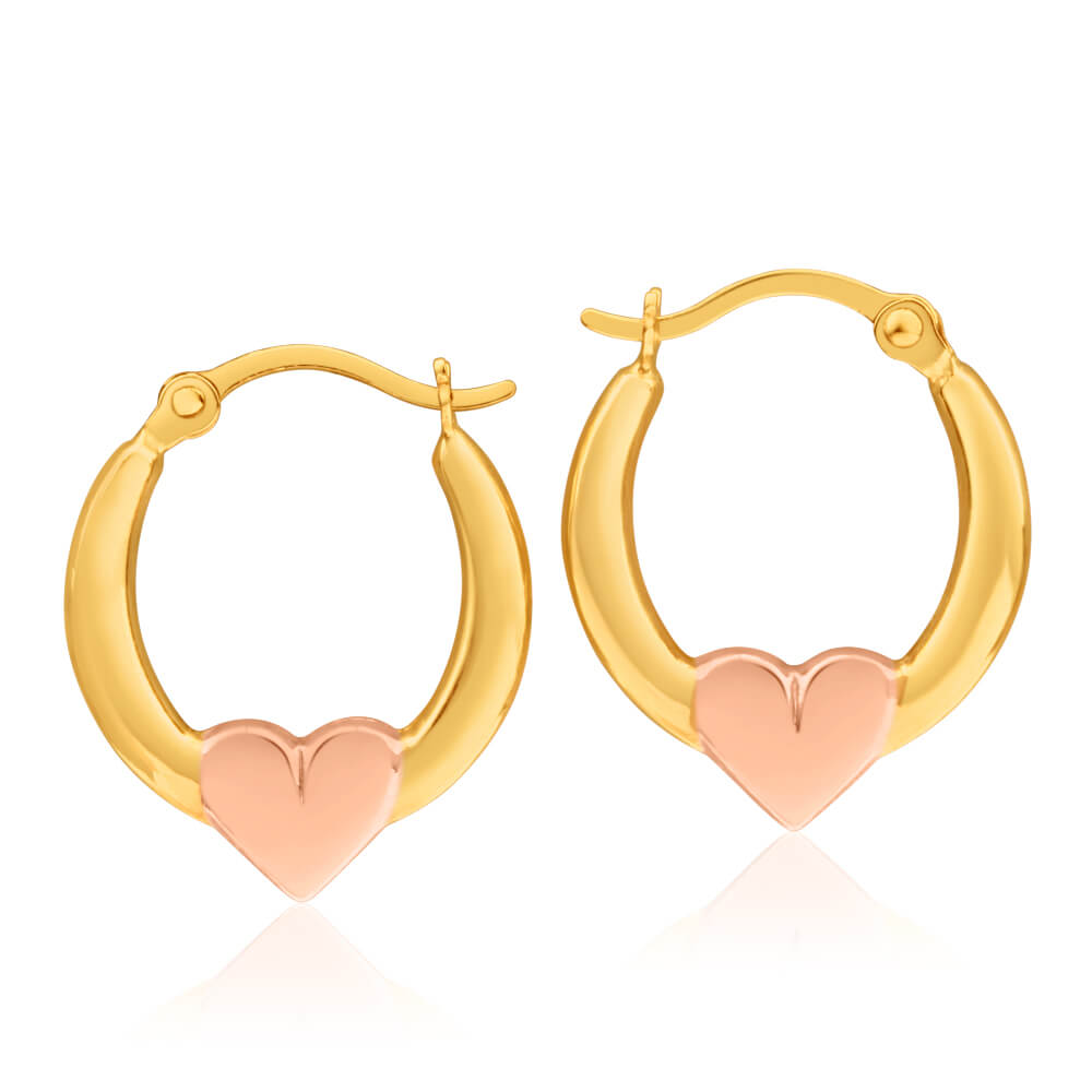 9ct Yellow & Rose Gold Hoop Creole Earrings with Rose gold tone heart