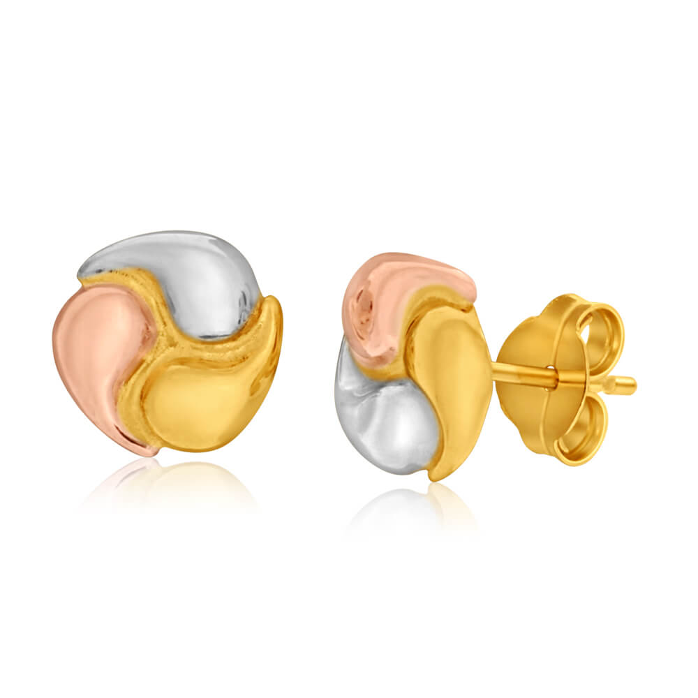 9ct Yellow Gold, White Gold & Rose Gold Knot 7mm Stud Earrings