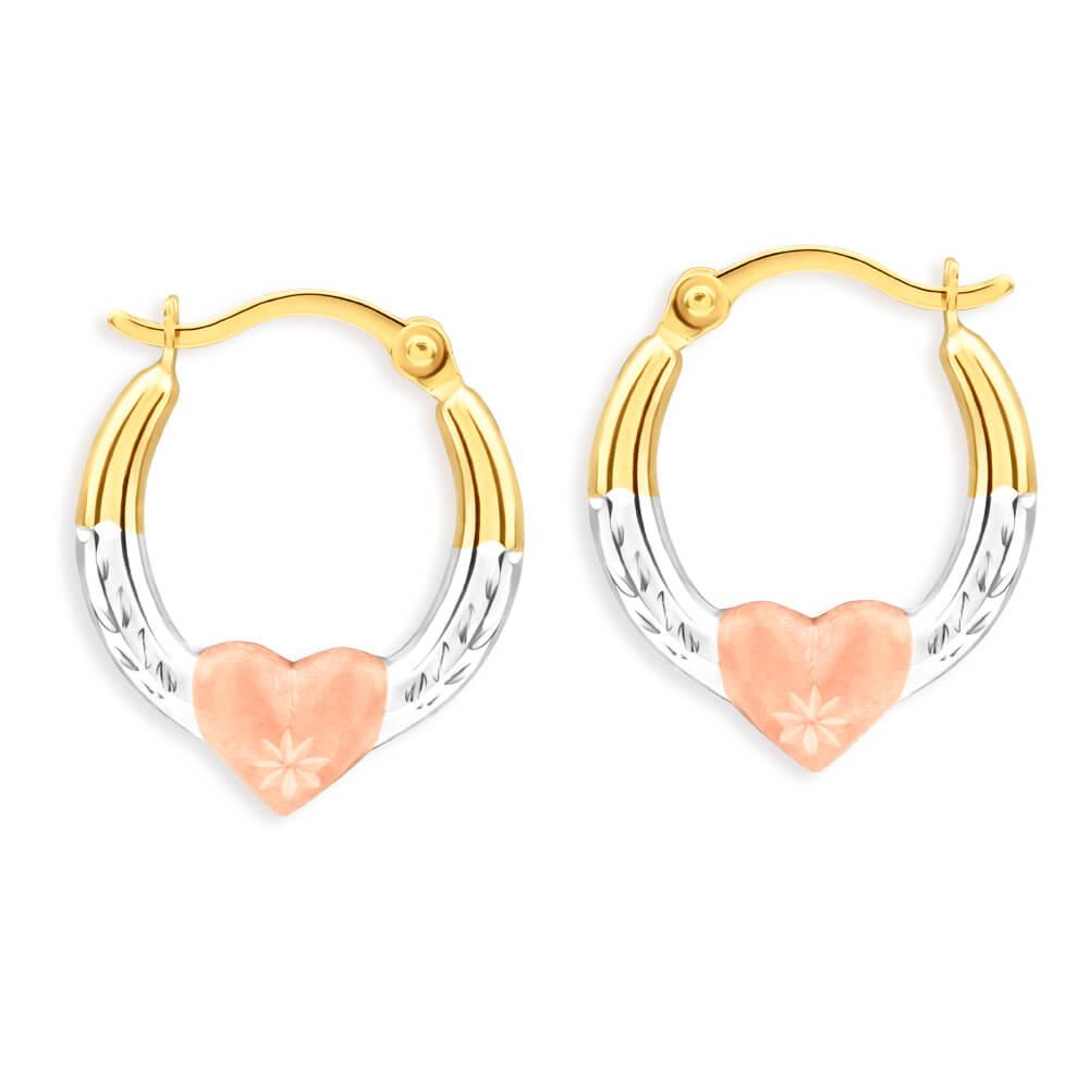 9ct Yellow Gold, White Gold & Rose Gold Diamond Hoop Earrings