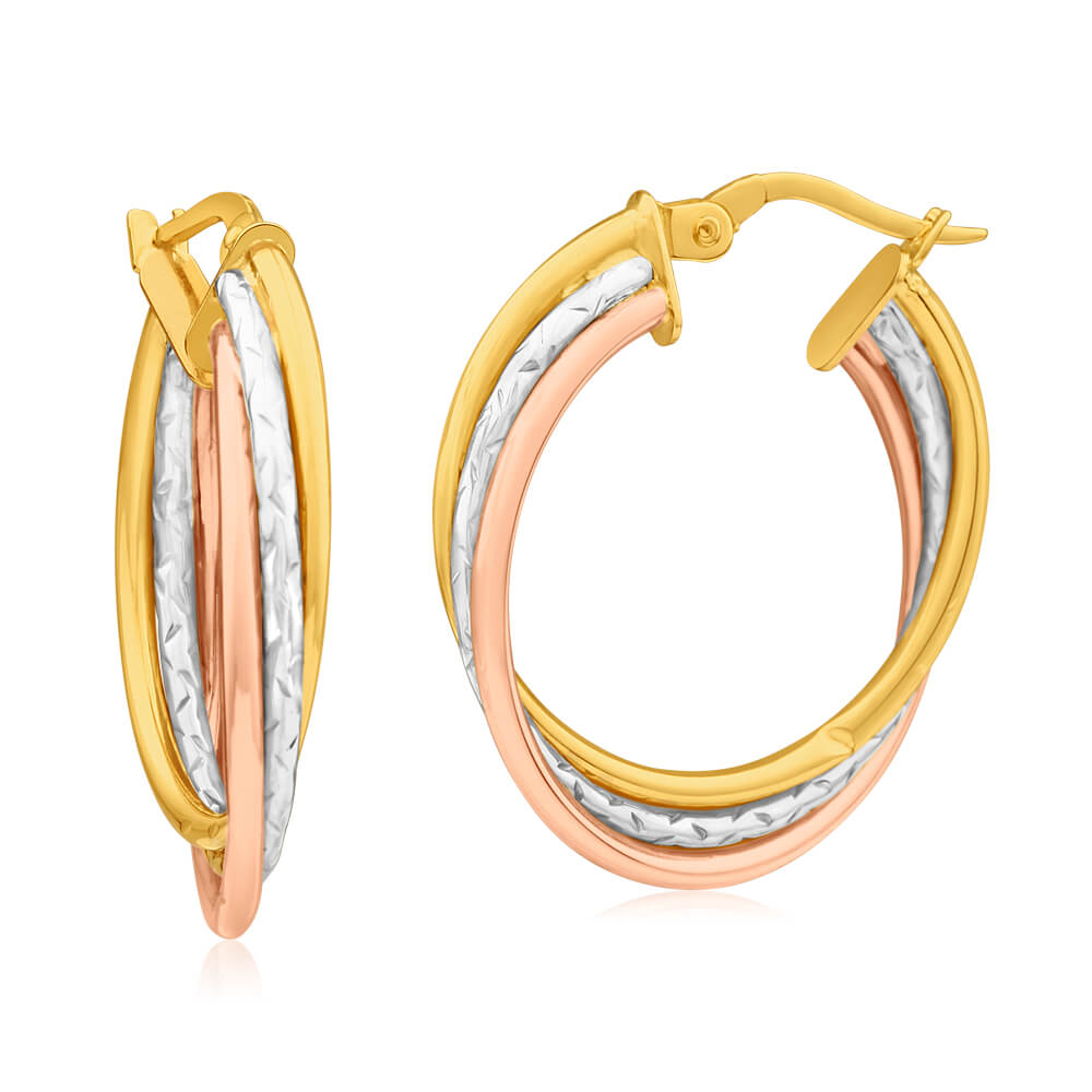 9ct Yellow Gold, White Gold & Rose Gold Hoop Earrings Kali