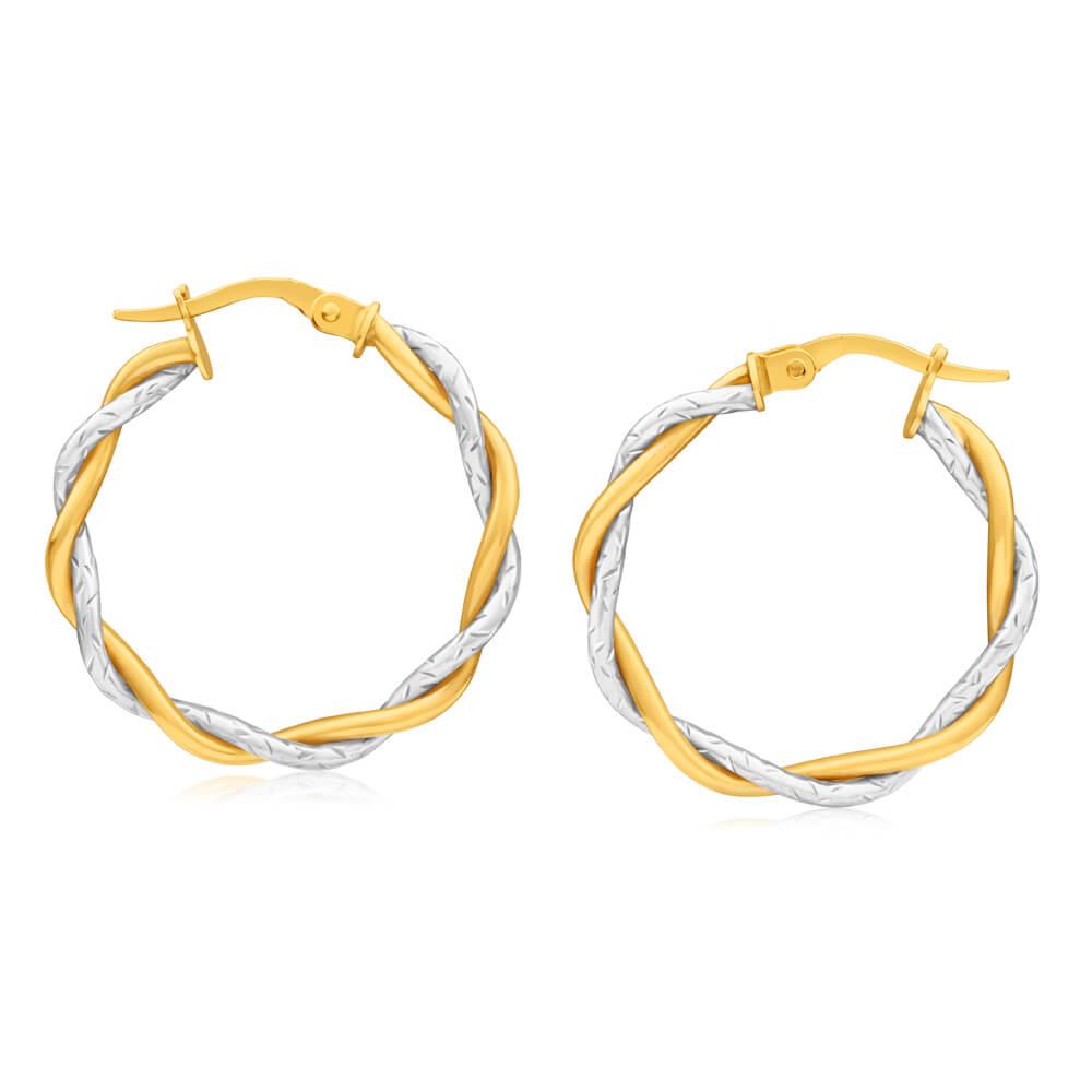 9ct Yellow & White Gold Hoop Earrings twin tube twist