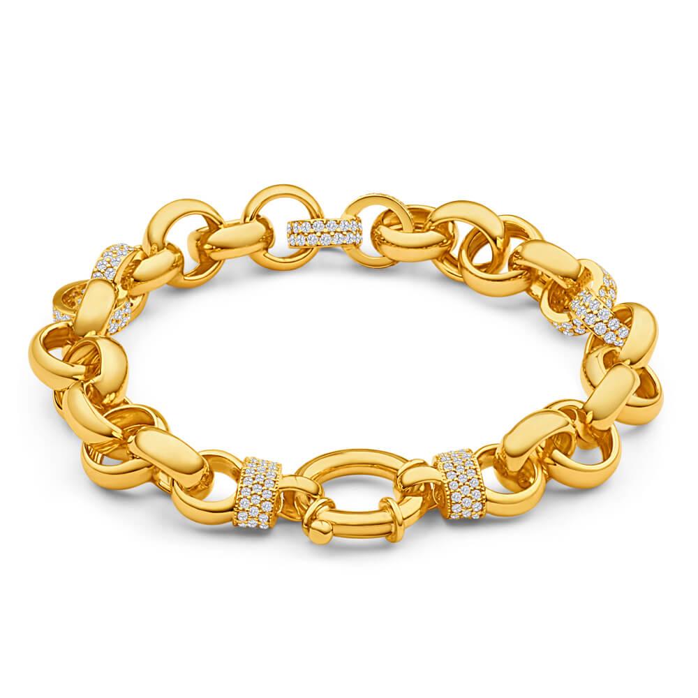 9ct Yellow Gold Zirconia Belcher Bracelet