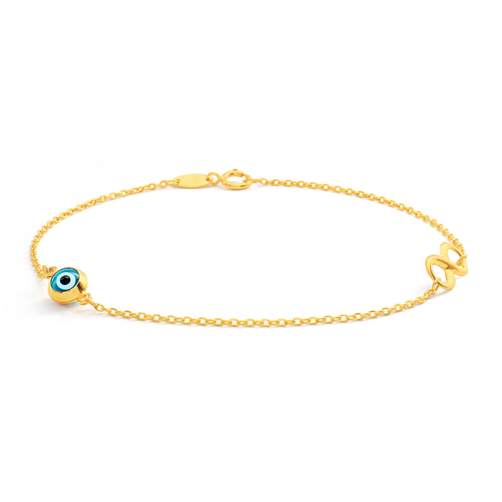 9ct Yellow Gold 'Evil Eye' and Infinity 19cm Bracelet