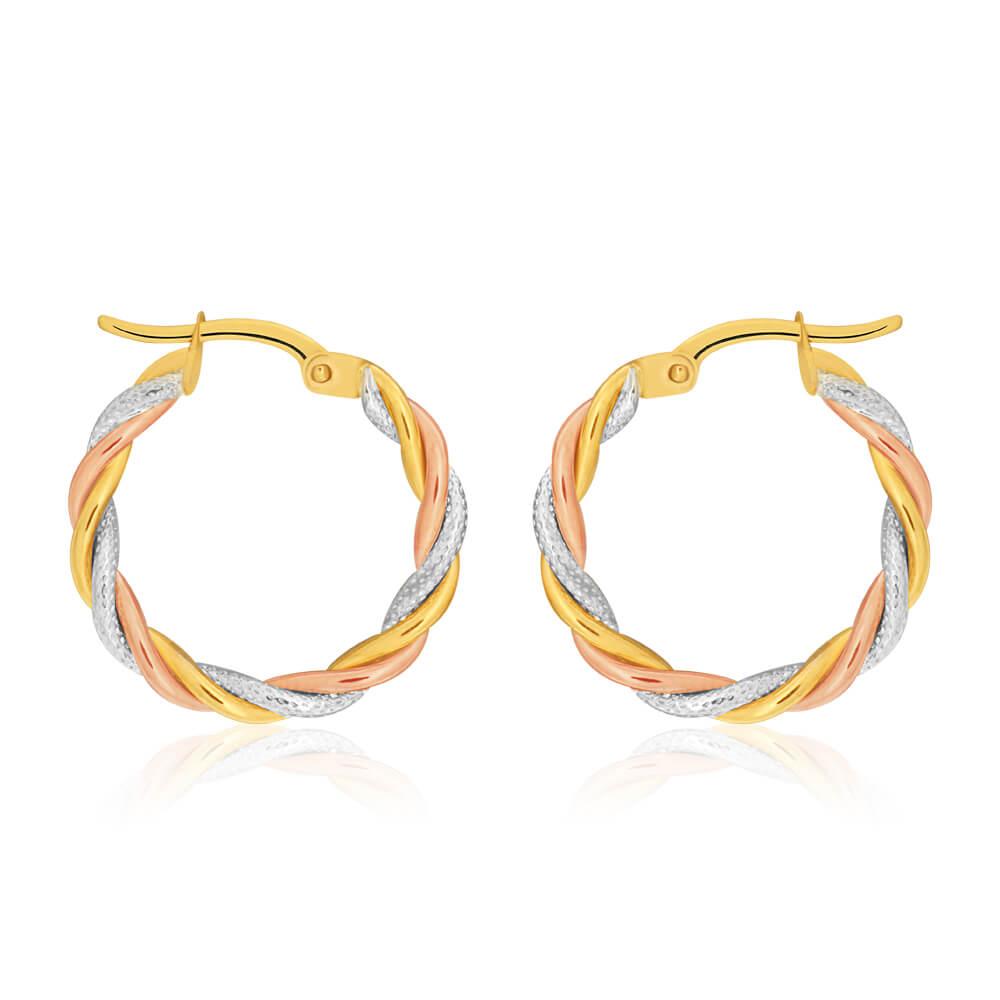 9ct Yellow, Rose & White Gold Hoop Earrings 3 tube twist