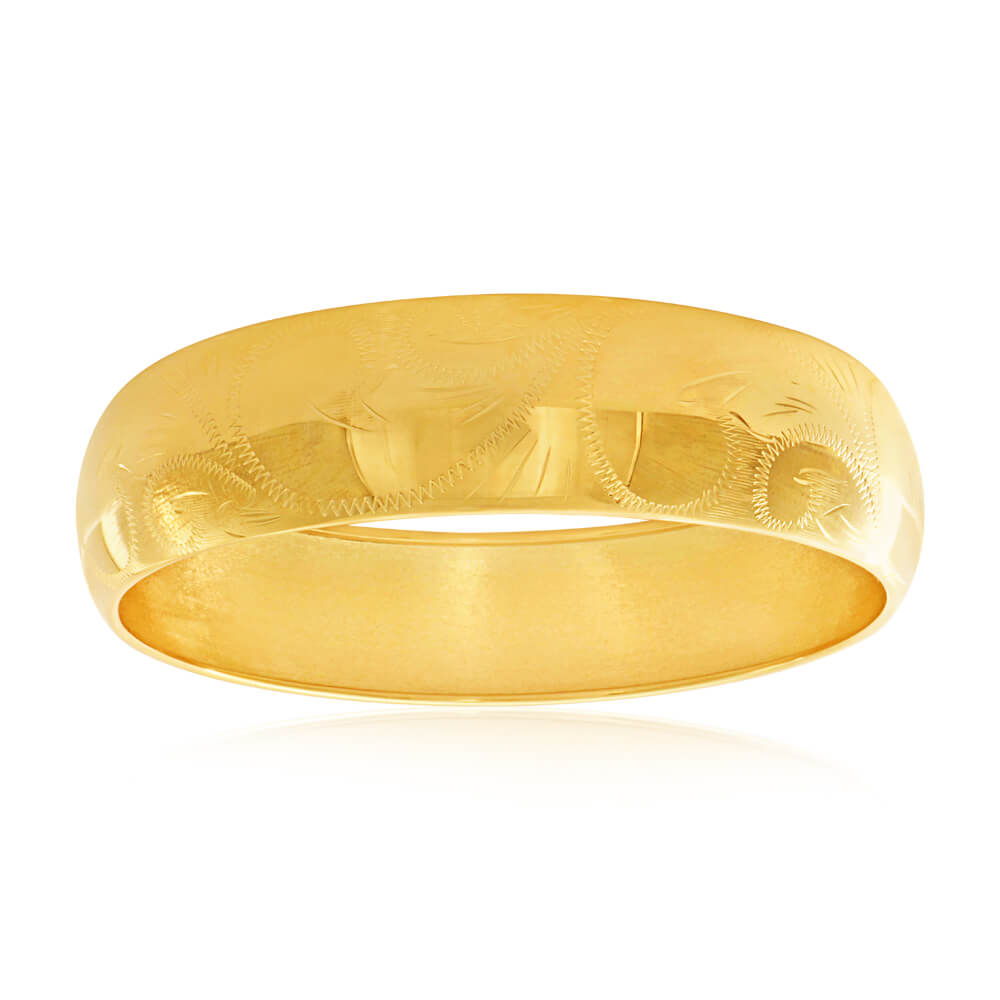 "9ct Yellow Gold Large 18mm Engraved 65mm Bangle ""Janet"""