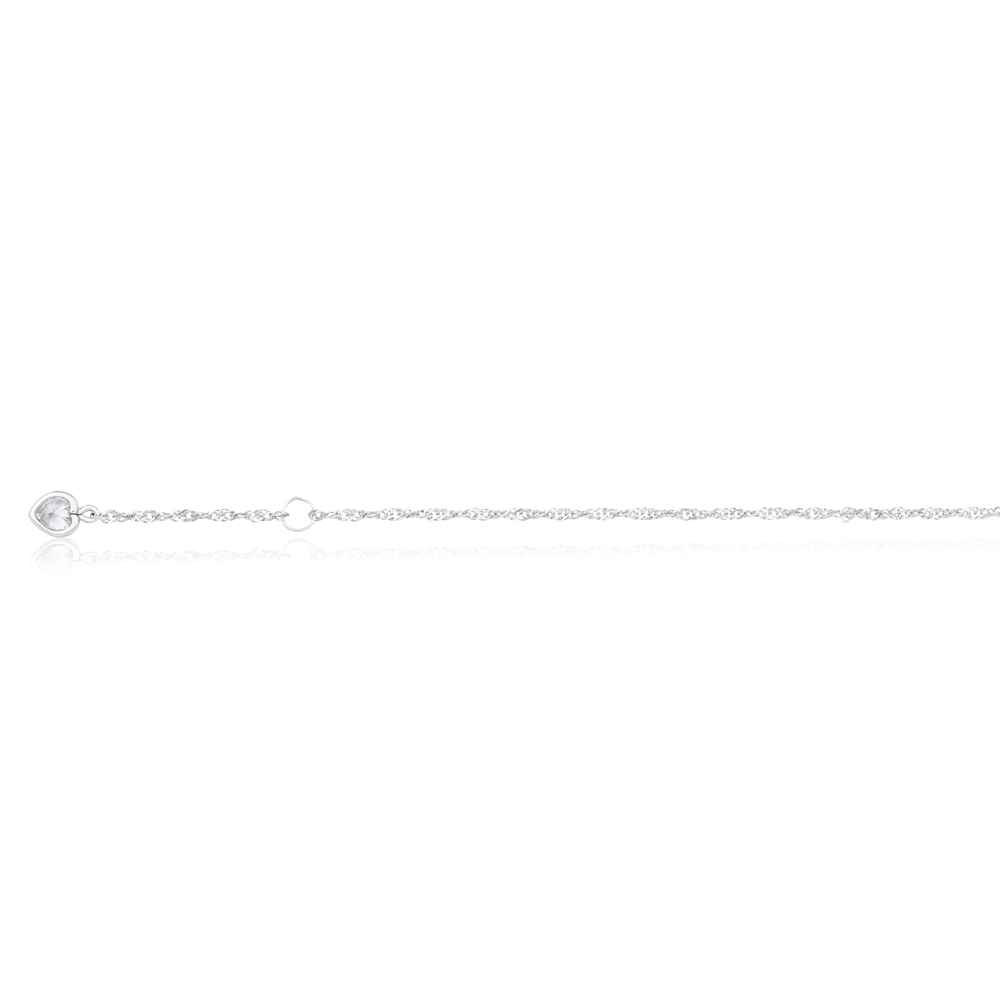 9ct White Gold Singapore with White Cubic Zirconia Heart Charm 27cm Anklet