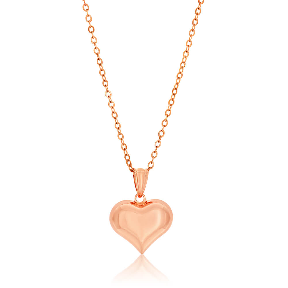 9ct Rose Gold Puff Heart Pendant