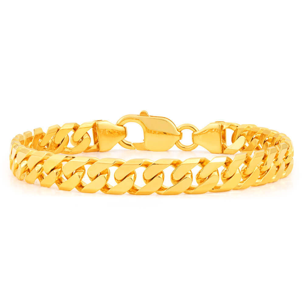 9ct Yellow Solid Gold Heavy Curb Bevelled 21cm Bracelet 200 Gauge