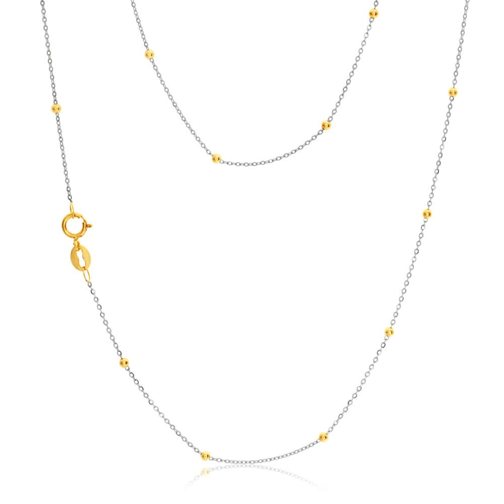 9ct White Gold 45 Chain with 9ct Yellow Gold Beads
