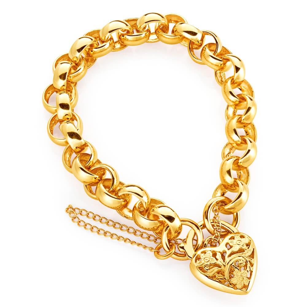 9ct Rose Gold 19cm Belcher Link with a Filigree Heart Padlock
