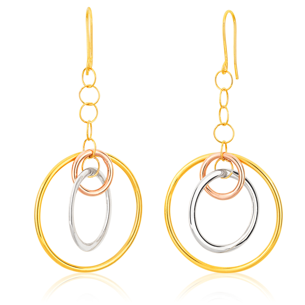 9ct Yellow Gold, White Gold & Rose Gold Circle Drop Earrings
