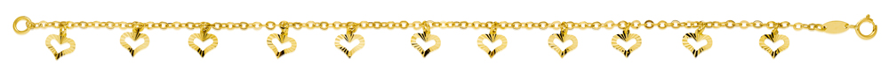 9ct Yellow Gold Belcher 19 cm Bracelet with 11 diamond Cut Heart Charms