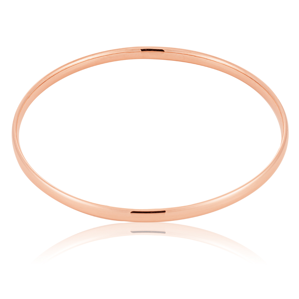9ct Rose Gold hollow 4mm x 65mm Bangle