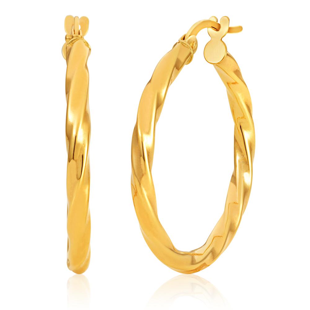 9ct Yellow Gold twist 20mm Hoops Earrings