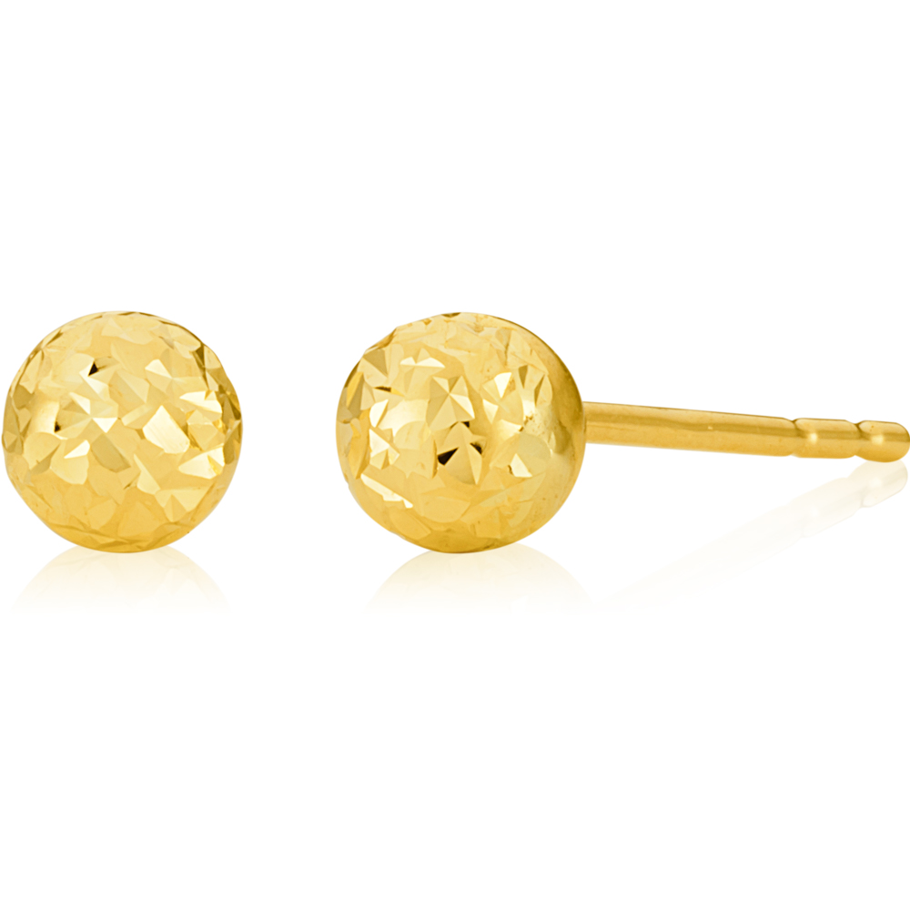 9ct Yellow Gold 4mm Euroball Dicut studs Earrings