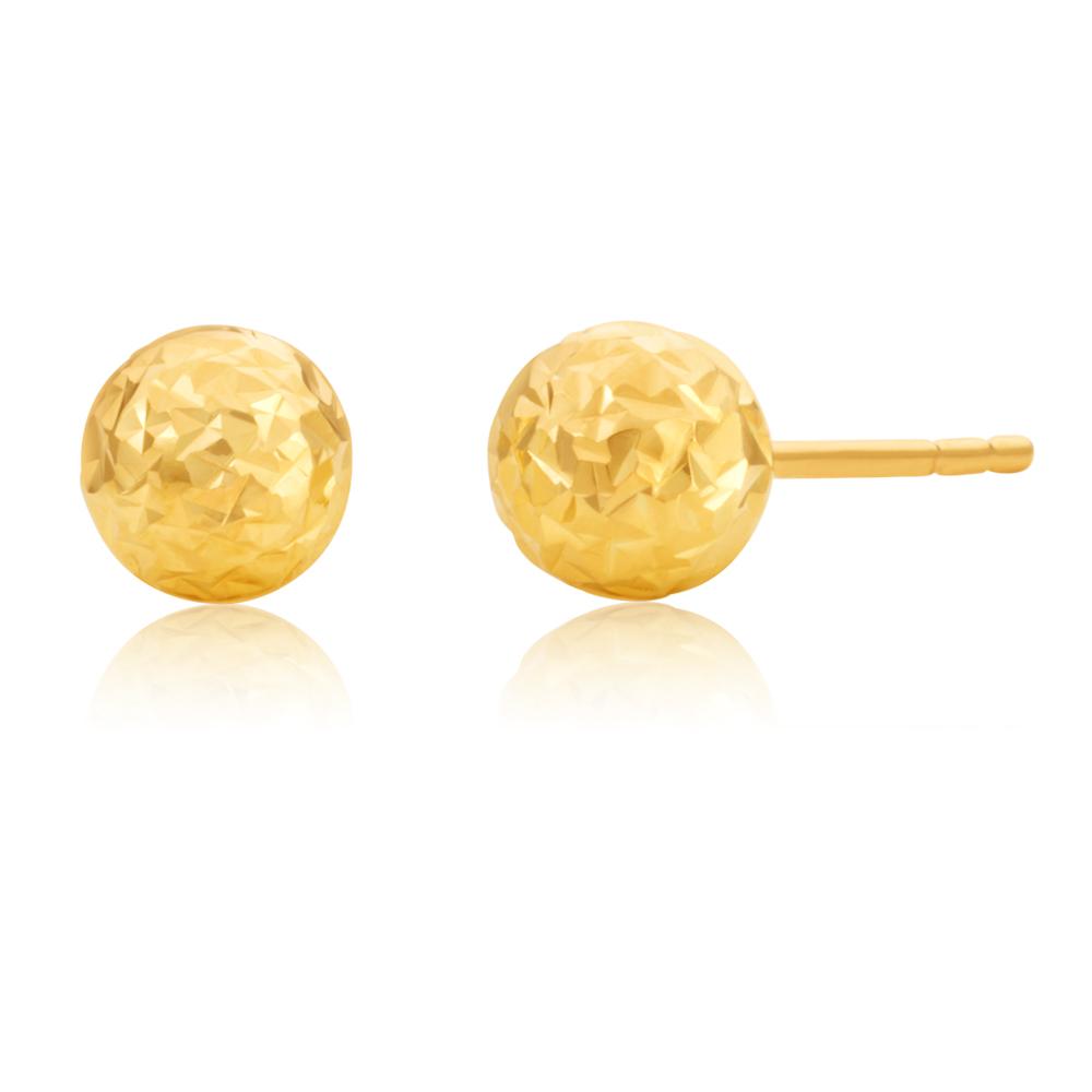 9ct Yellow Gold 5mm Euroball Dicut studs Earrings